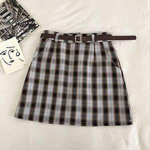 Стильная юбка в клетку с карманами и ремешком 44 р