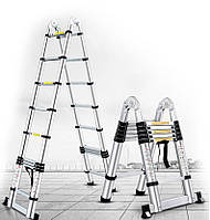 Лестница алюминиевая STANLEY Высота-3.8 / Стремянка трансформер СТЕНЛИ. Лестница телескопическая раскладная.