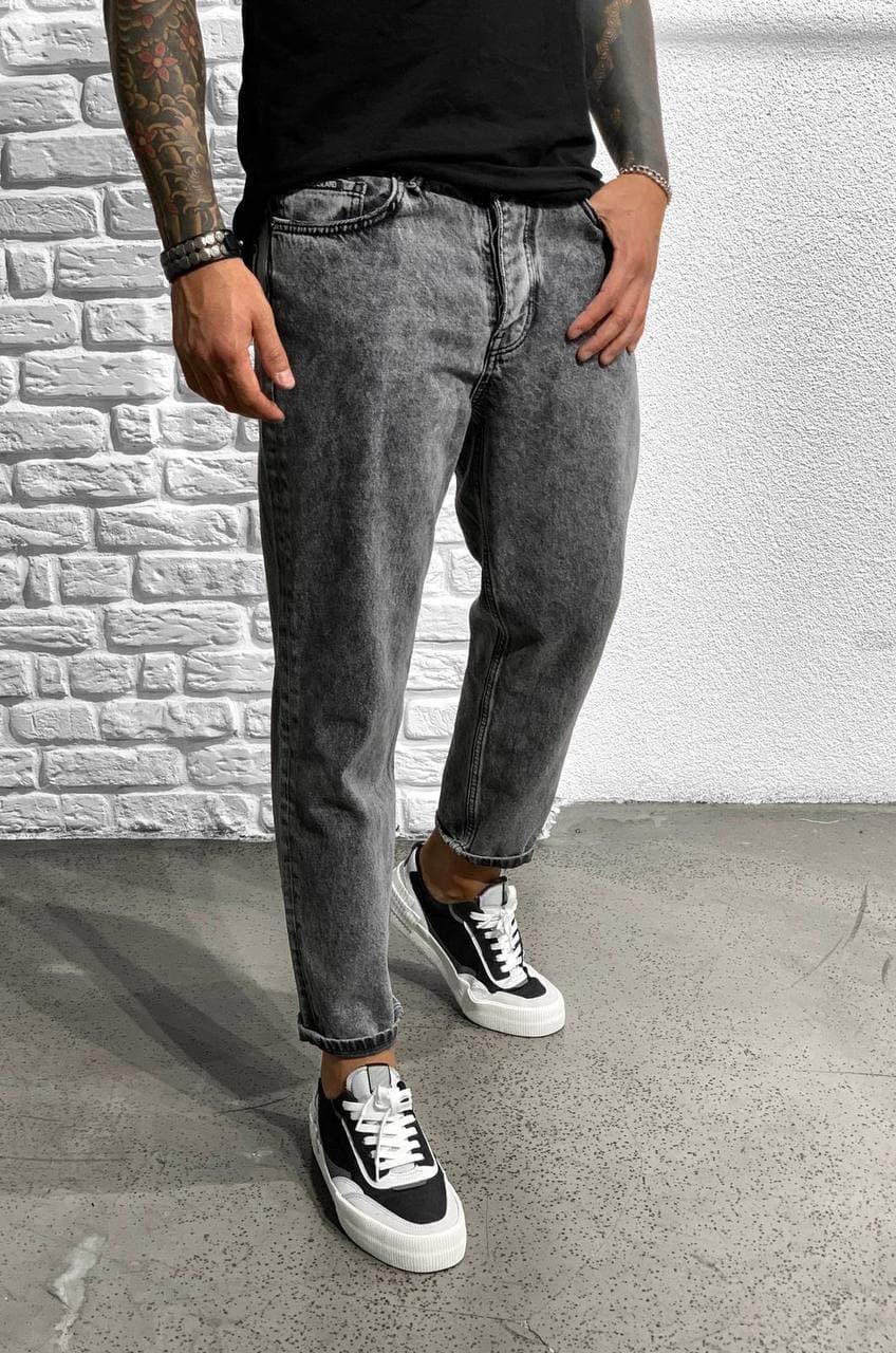 Мужские Мом Джинсы Широкие Серого Цвета | Mom Jeans Производитель Турция