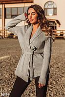 Женский вязанный кардиган,серый с поясом  S M L