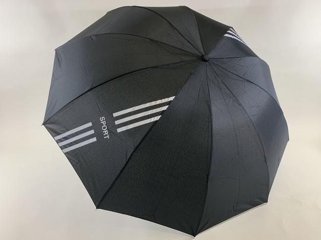Чёрный зонт с выворотным механизмом сложения 10 спиц  унисекс