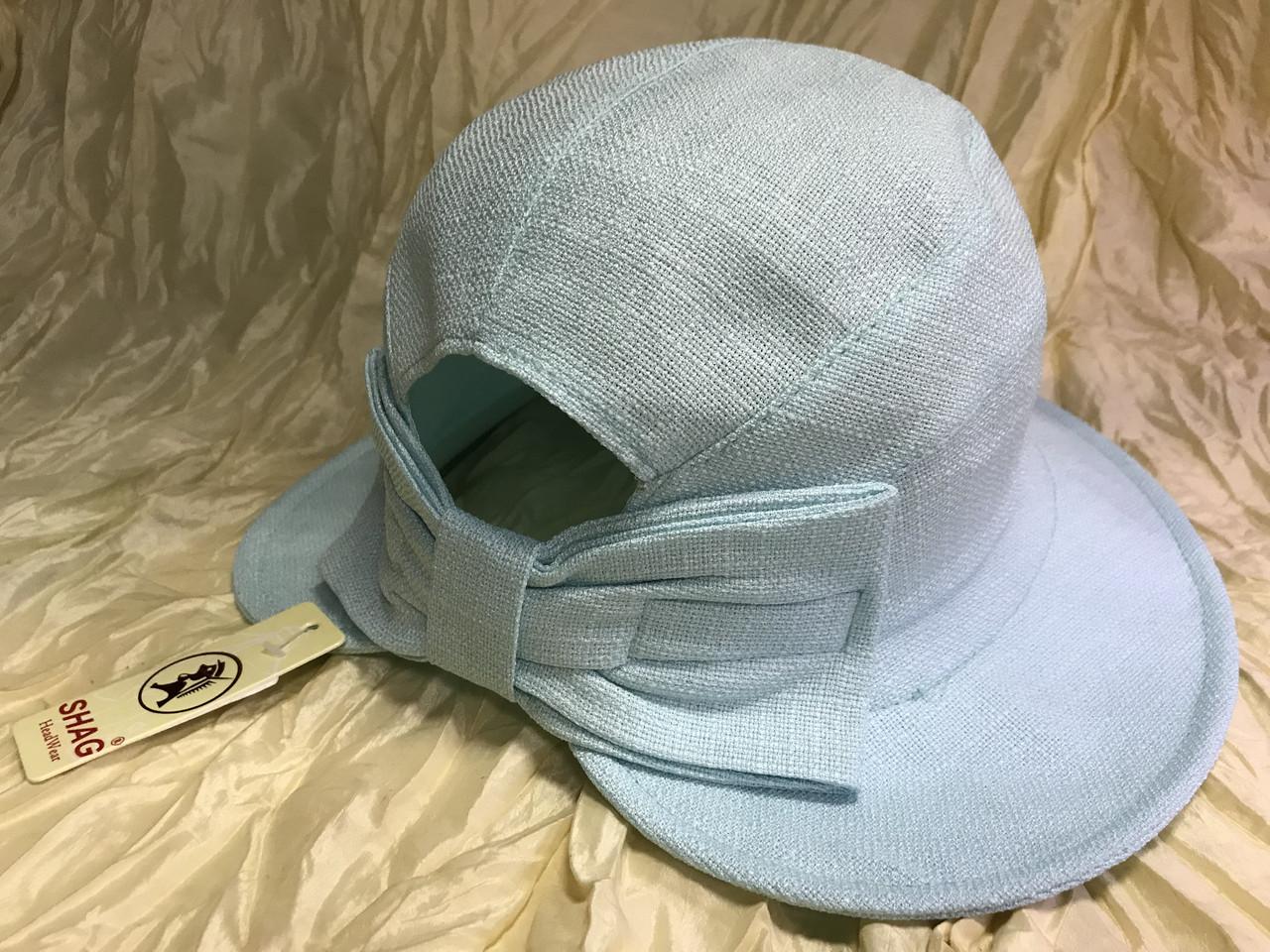 Шляпка панама из  льна с регулировкой размера цвет голубой