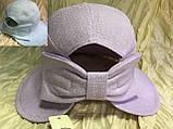 Шляпка панама из  льна с регулировкой размера цвет голубой, фото 3