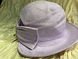 Шляпка панама из  льна с регулировкой размера цвет голубой, фото 4