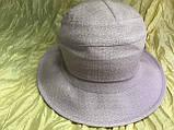 Шляпка панама из  льна с регулировкой размера цвет голубой, фото 5
