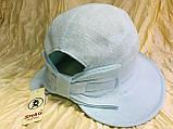 Шляпка панама из  льна с регулировкой размера цвет голубой, фото 6