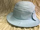 Шляпка панама из  льна с регулировкой размера цвет голубой, фото 8