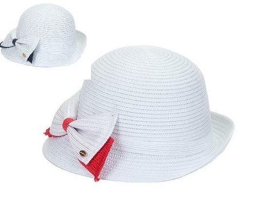 Річна капелюшок з полями на верх колір білий прикрашені червоним бантом