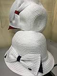 Річна капелюшок з полями на верх колір білий прикрашені червоним бантом, фото 6