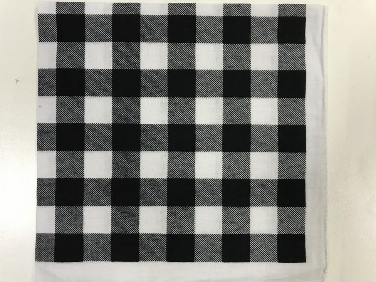 Хлопковая бандана (косынка) чёрно-белая