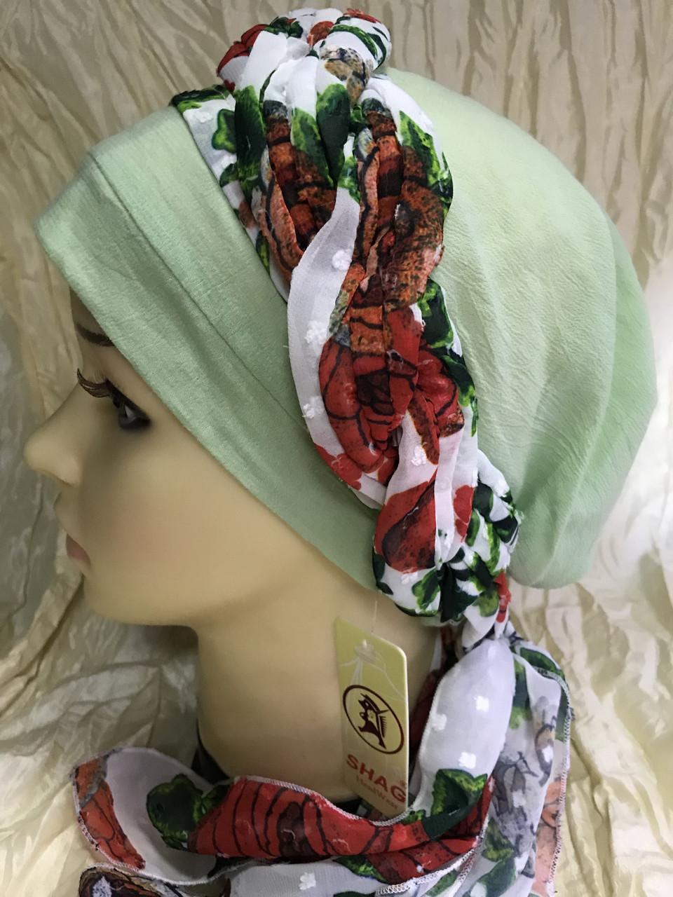Летняя  хлопковая бандана-шапка-косынка цвет салатовый бежевый белый