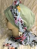 Летняя  хлопковая бандана-шапка-косынка цвет салатовый бежевый белый, фото 2