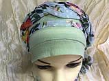 Летняя  хлопковая бандана-шапка-косынка цвет салатовый бежевый белый, фото 3