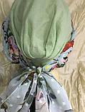 Летняя  хлопковая бандана-шапка-косынка цвет салатовый бежевый белый, фото 4