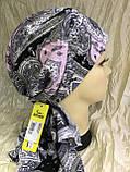 Бандана-косинка бавовняна сіра з рожевим, фото 4