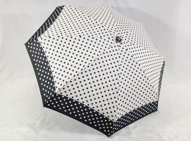Міні механічний парасольку в горошок на 8 спиць колір чорний + білий