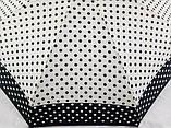 Міні механічний парасольку в горошок на 8 спиць колір чорний + білий, фото 2