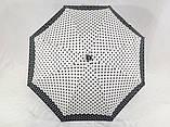 Міні механічний парасольку в горошок на 8 спиць колір чорний + білий, фото 3