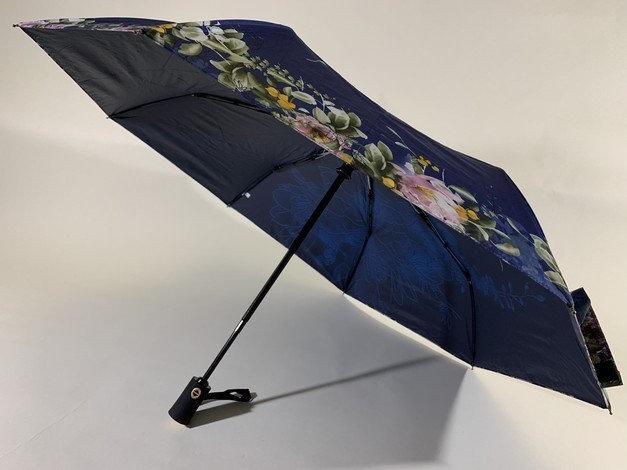 Зонт автомат на 8 спиц антиветер цвет синий с цветочным принтом