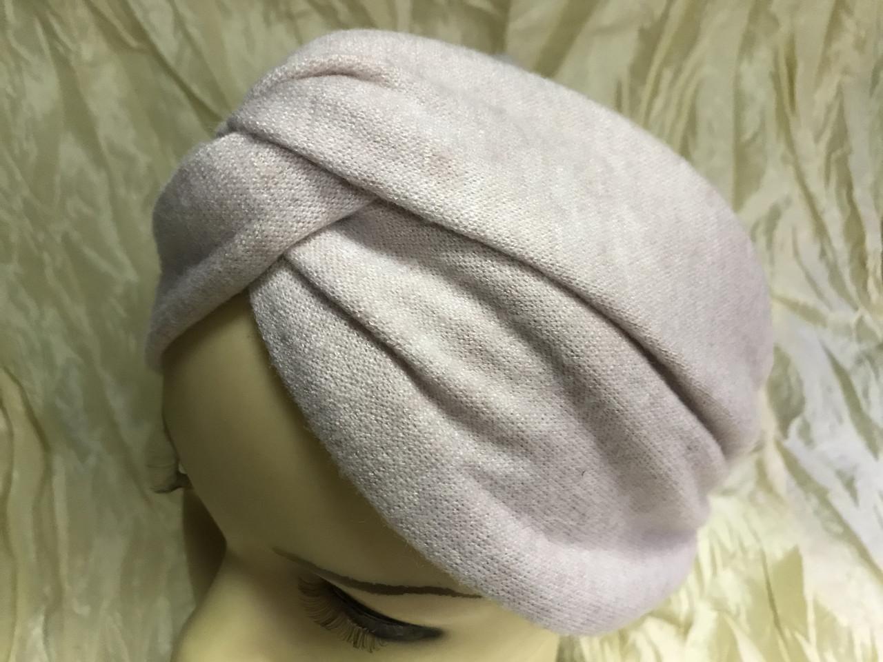 Широкая повязка-чалма трикотажная с добавкой ангоры цвет пудра