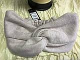 Широкая повязка-чалма трикотажная с добавкой ангоры цвет пудра, фото 2