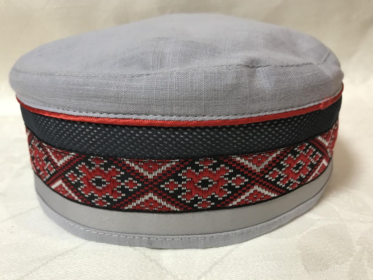 Талибанка лляна з вишивкою розмір 56-60 колір сірий і рожевий