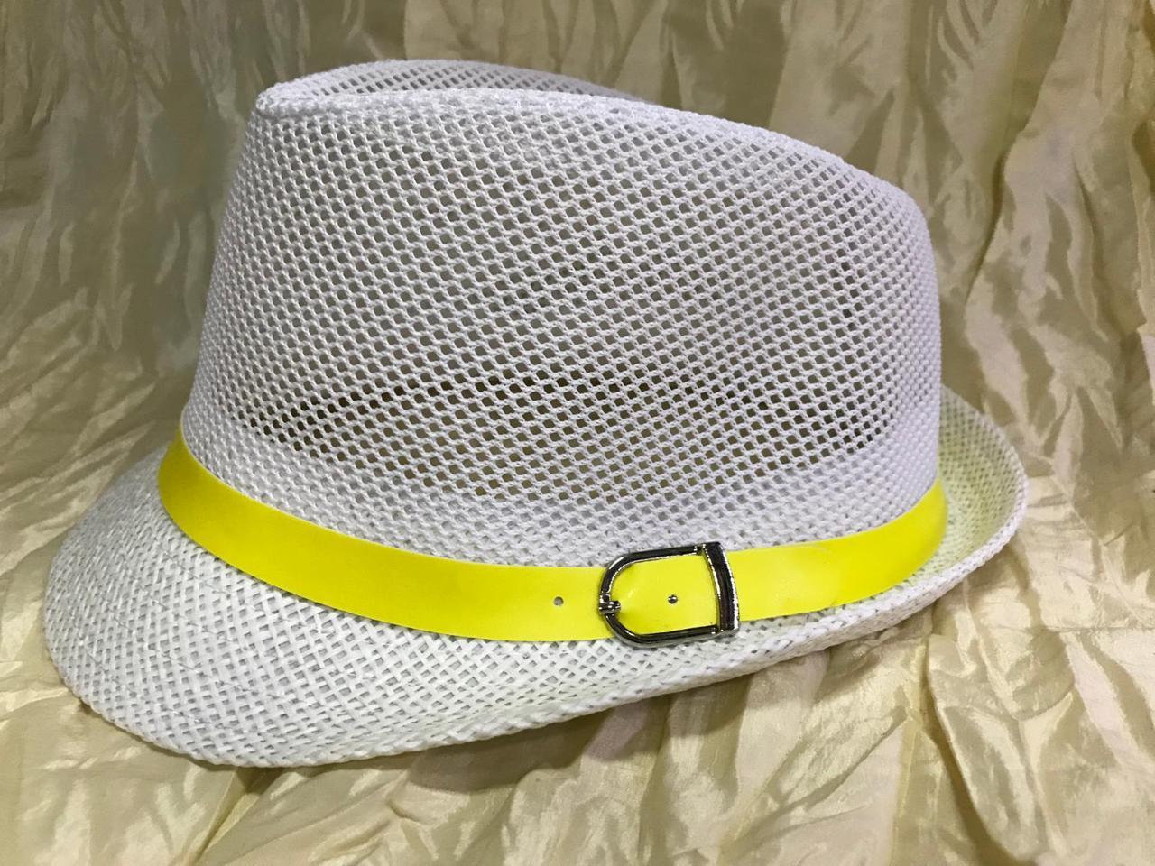Дитячий літній капелюх сітка поля соломка розмір 52 54 колір білий з жовтою стрічкою