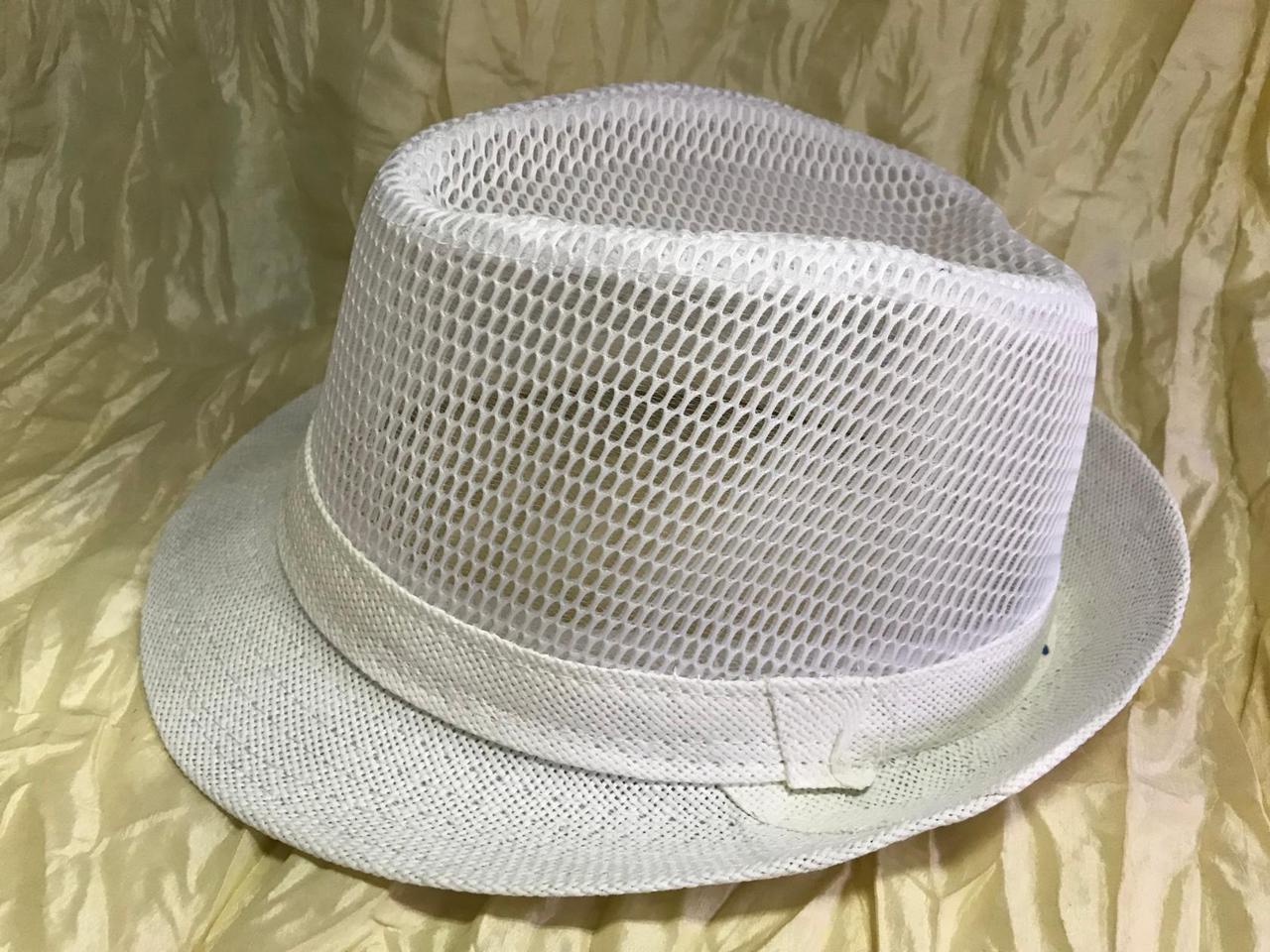Річна капелюх Федора під чоловічий стиль тулія сітка 58 розмір колір білий