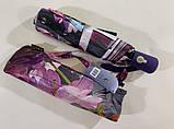 Зонт автомат атласный  на 9 спиц крупные яркие  цветы на темном фоне, фото 3