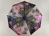 Зонт автомат атласный  на 9 спиц крупные яркие  цветы на темном фоне, фото 4