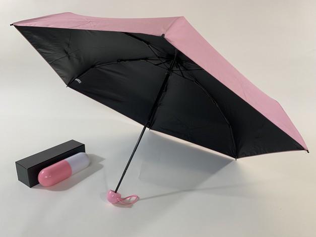 Рожевий зонт 5 додавань у капсулах 6 спиць механіка антиветер
