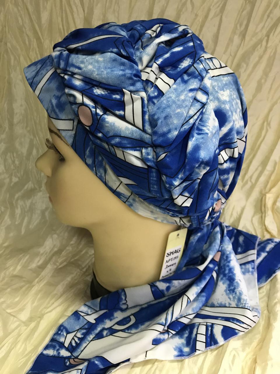 Бандана-шапка-косынка с объёмной драпировкой цвет синий