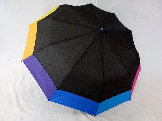 Парасольки жіночі напівавтомати чорний з різнобарвною облямівкою 10 спиць