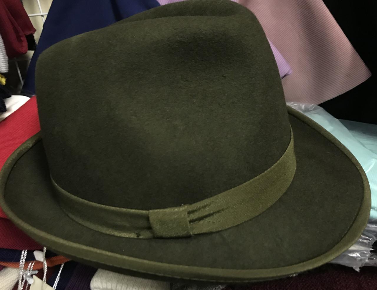 Фетровая мужская шляпа поля 5.8 см цвет оливковый 57-58 и черный