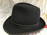 Фетровая мужская шляпа поля 5.8 см цвет оливковый 57-58 и черный, фото 2