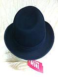 Фетровая мужская шляпа поля 5.8 см цвет оливковый 57-58 и черный, фото 8