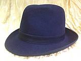 Фетровая мужская шляпа поля 5.8 см цвет оливковый 57-58 и черный, фото 9