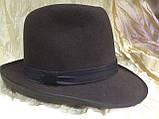 Фетровая мужская шляпа поля 5.8 см цвет оливковый 57-58 и черный, фото 10