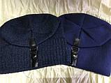 Чорна і синя чоловіча шапка щільної в'язки на флісі з хлястиком, фото 2