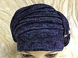 Шапка чалма демісезонна колір синій, фото 2