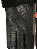 Рукавички чоловічі дублянка з малюнком на хутрі колір чорний, фото 4