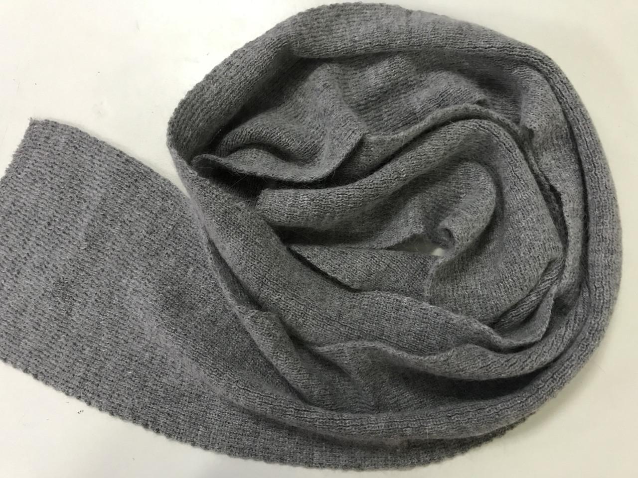 Жіночий зимовий шарф з ангори колір темно сірий