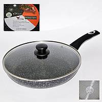 Сковорода з кришкою з антипригарним мармуровим покриттям (24*5 см.), фото 1