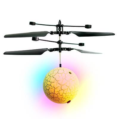 Игрушка летающий шарик со светом Flying Ball желтый, шар вертолет светящийся и летающий от руки
