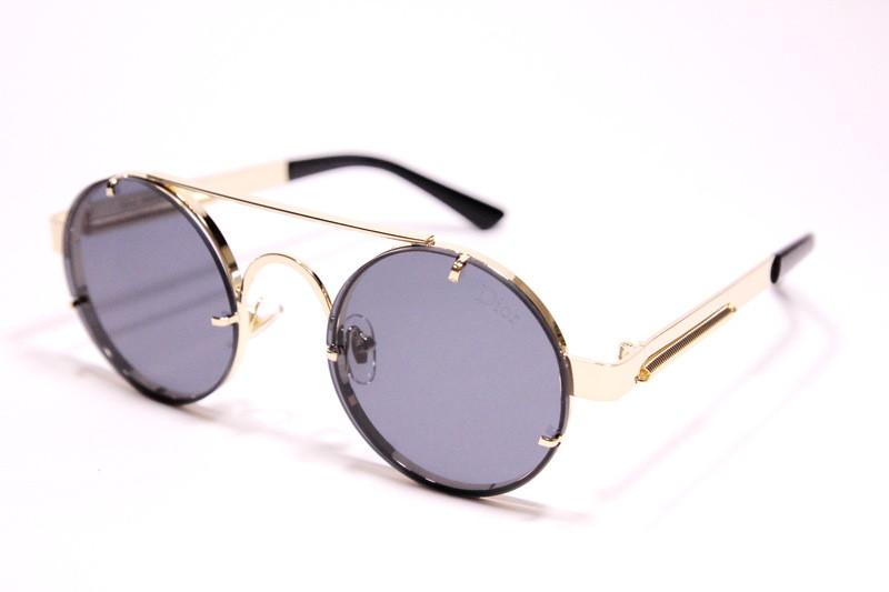 Женские солнцезащитные круглые очки Диор 9014 C2 реплика Черные