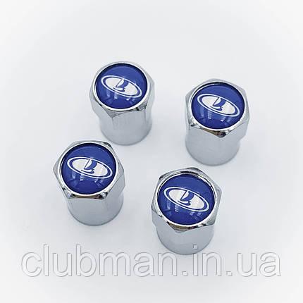 Защитные колпачки на ниппеля ВАЗ Лада (Lada)  4 шт Синий фон Cеребристые, фото 2