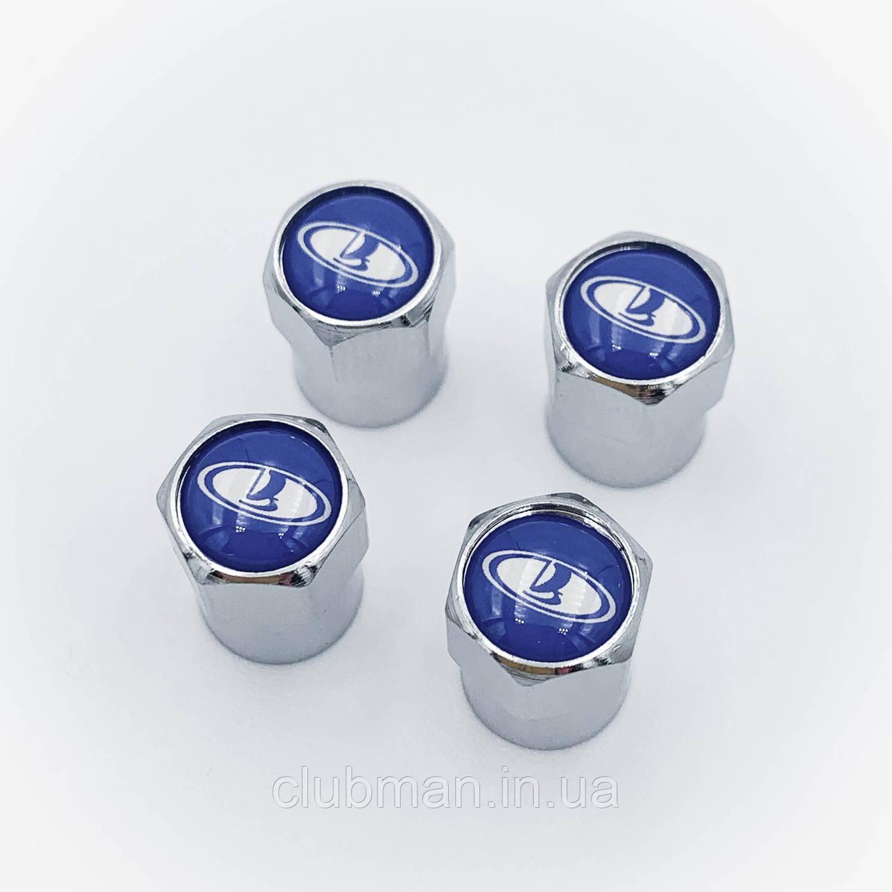 Защитные колпачки на ниппеля ВАЗ Лада (Lada)  4 шт Синий фон Cеребристые