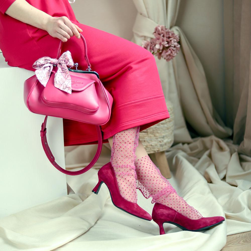 Туфлі-човник з підборами 6см, колір фуксія, в наявності розмір 38