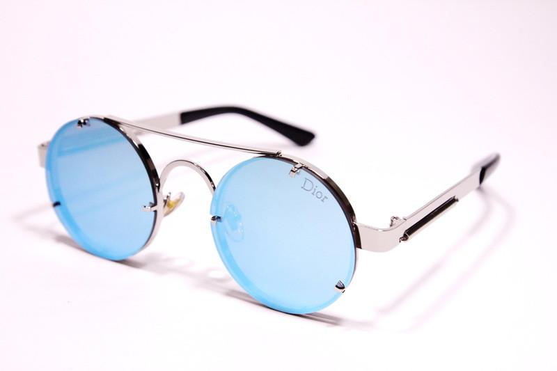 Жіночі сонцезахисні круглі окуляри Діор 9014 C4 репліка Сині