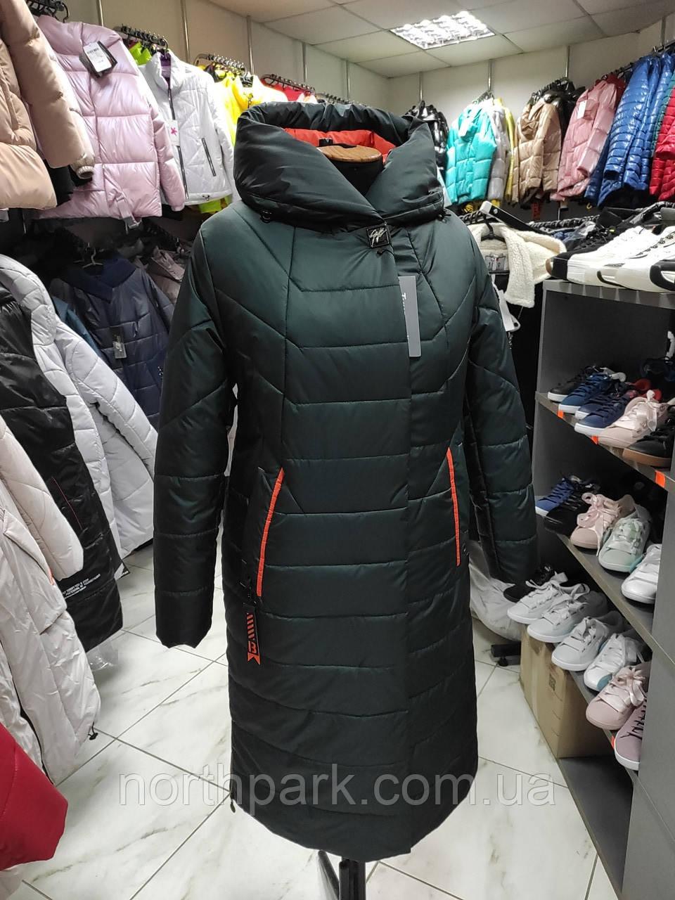 """Зимове довге пальто """"Леді"""", смарагд"""